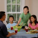 A family sitting at the kitchen table, laughing and sharing lunch.